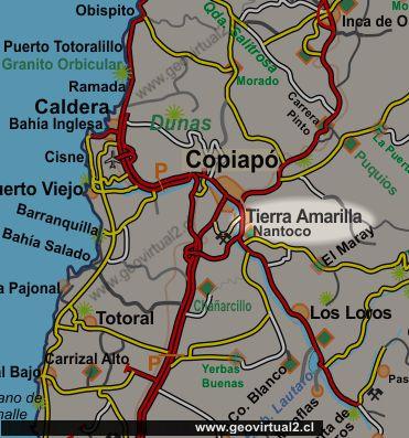 Resultado de imagen para mapa de Tierra Amarilla en Atacama