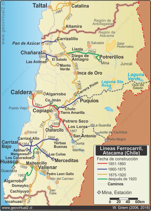 Atacama Wüste Karte.Geschichte Der Eisenbahnen In Der Atacama Wüste Chile 1