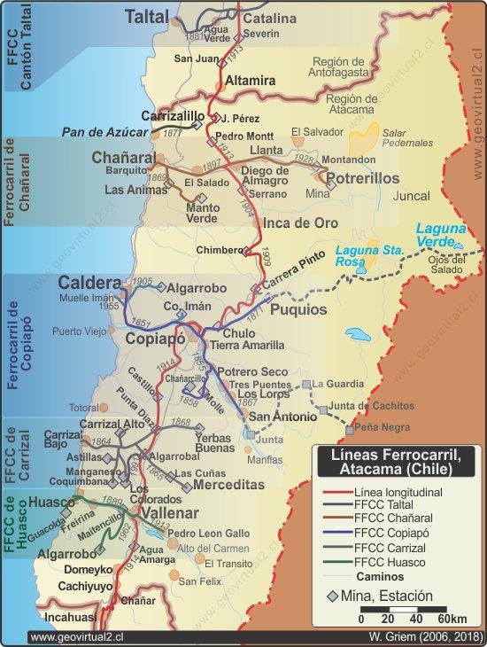 Atacama Wüste Karte.Streckennetz Und Geschichte Der Atacama Eisenbahnen In Der Atacama