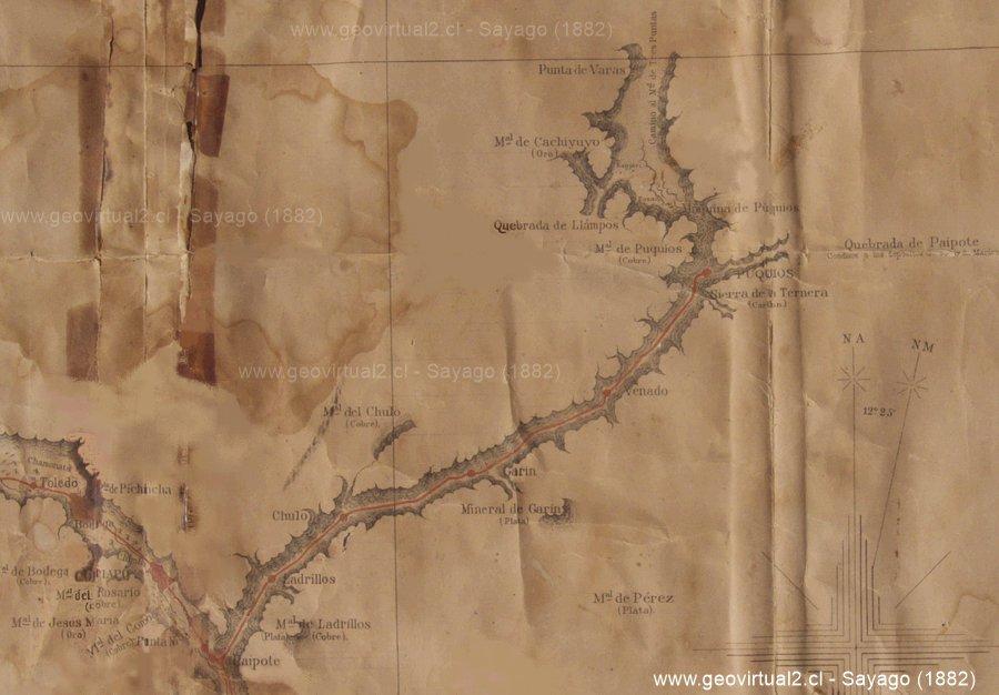 Carta del ferrocarril a Puquios, Región de Atacama, Chile